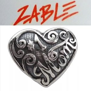 S925 Sterling Silver #1 Mom Heart Charm
